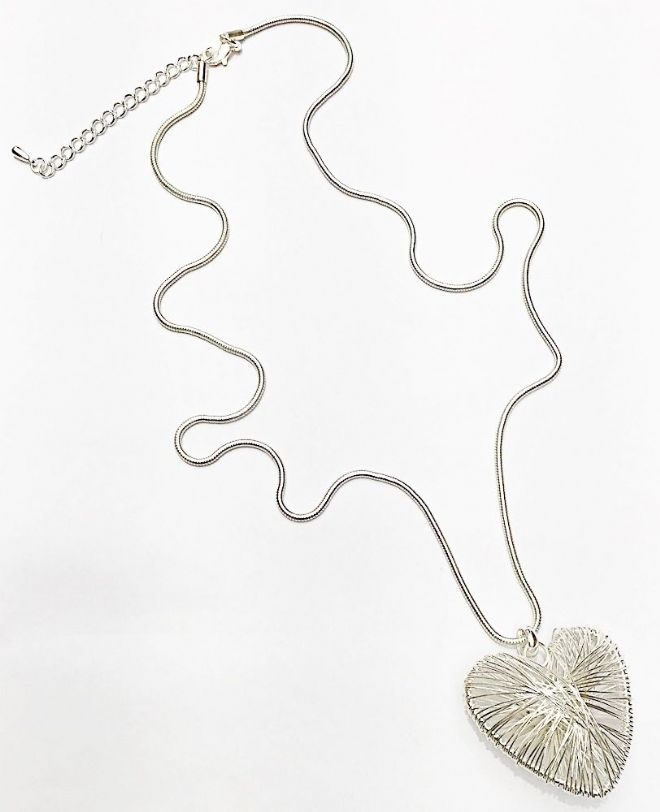 Large Heart Long Necklace ~ Silver